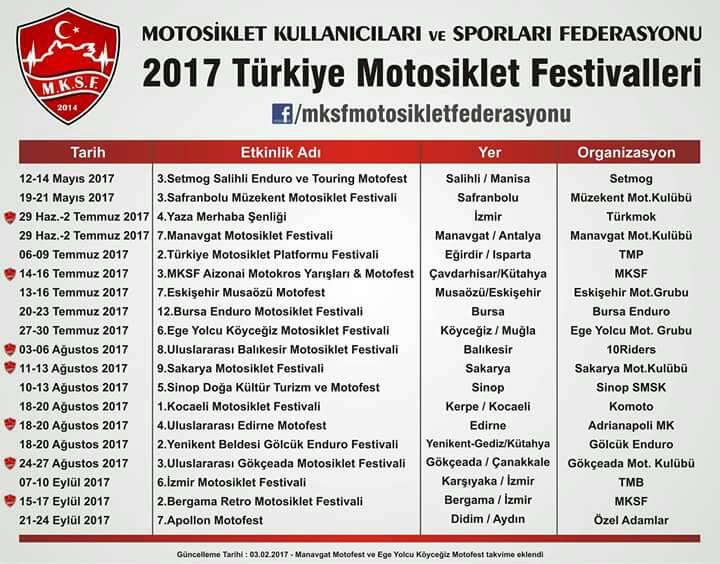 2017 Motosiklet Festivalleri